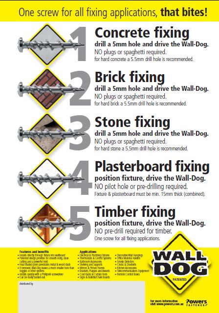 Walldog universal self-drilling screw