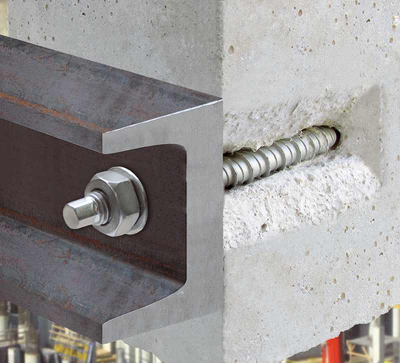 Application for HXE02, concrete screw with threaded head