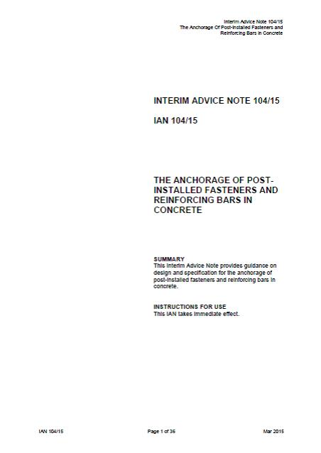IAN10415 - The anchorage of post installed fasteners and reinforcing bars in concrete